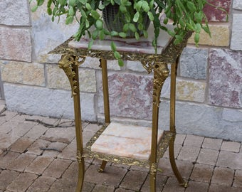 Antique Brass & Marble Two Tier Large Fern Table, Antique Victorian Plant Stand, Antique Entry Way Brass Table, Vintage Gold Home Decor