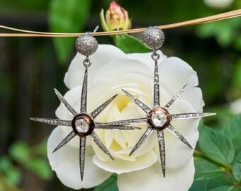 Starburst Earrings - Starburst Diamond Earrings - Pave Diamond Earrings - Diamond Star Earrings - Diamond Polki Earrings - Designer Jewelry