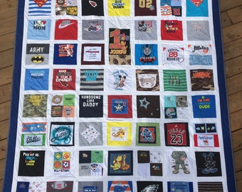 T-shirt Quilt Twin Bed with Sashing DEPOSIT ONLY custom memory tshirt blanket sorority sports college club dance patchwork