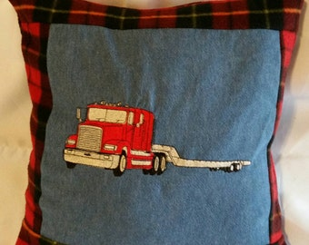 Tractor trailer truck low boy trailer pillow cover embroidered big rig handmade pillow cover