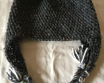 Speckled earflap beanie with braids