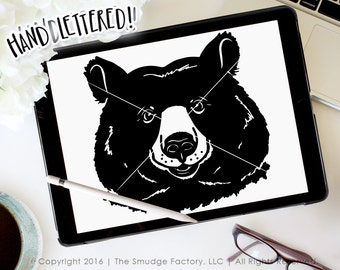 Bear SVG Cut File, Woodland Animal Cutting File for Silhouette SVG, Cricut Download, Cute Teddy Bear Graphic Overlay Clipart Forrest Animal