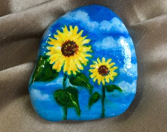 Hand Painted Rock Sunflower Garden