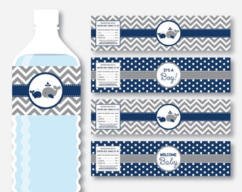 Instant Download, Whale Water Bottle Labels, Whale Water Bottle Wrappers, Navy Whale Labels, Whale Printable, Navy Gray Chevron, Boy(SBS.57)