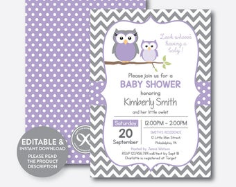 Instant Download, Editable Owl Baby Shower Invitation, Purple Owl Invitation, Boy, Girl Baby Shower, Baby Sprinkle, Purple Chevron (SBS.46)