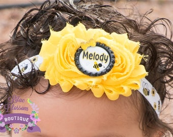 Personalized Bumble Bee Baby Headband, Bumble Bee Birthday Girl, Personalized Girl Bee Outfit, Bee Baby Photo, Bumble Bee Baby Bow, Bee Bow