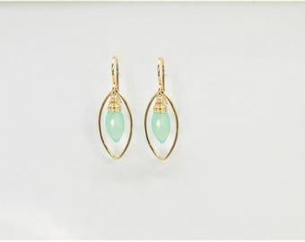 Chalcedony Marquise Earrings, Chalcedony Earrings Aqua Blue Chalcedony, Aqua Green Chalcedony, Dainty Earrings, Minimalist Earrings
