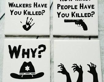 Walking Dead Coasters Set of 4 // Walking Dead Quote Coasters // Walking Dead Rick's Questions