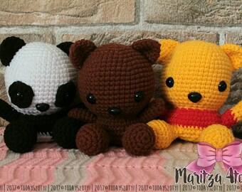 Bear Amigurumi Crochet Doll 11-12 cm (Teddy, Polar bear, Panda, Winnie the Pooh)