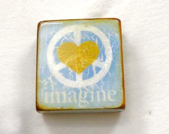 "Wee Sky Blue Golden Hear ""Imagine"" - Soft Blue,meditation,sanctuary gift,handpainted,Lennon,h.gloss resin coat on solid, light spruce block."