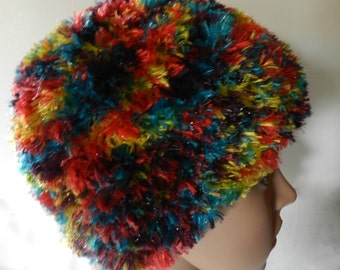 Hand Knitted Boa Beanie Hat Bright Colors V5514