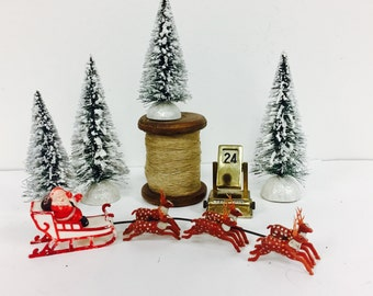 vintage santa claus with reindeer and sled plactic train set type toysanta toy - Christmas Tree Train Sets