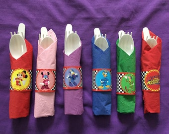 Mickey and the Roadster Racers / Moana - Napkin wraps / utensil wraps / cutlery wraps (set of 24)
