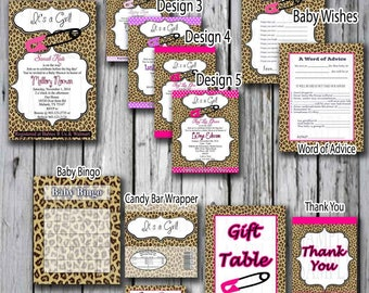 Baby Shower Cheetah Print Kit Pink Baby Shower, Purple Baby Shower  Hot Pink