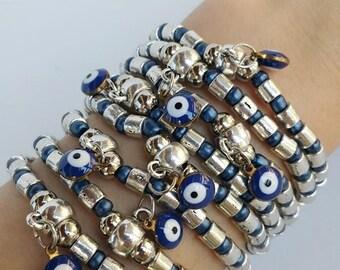 Beaded bracelets - blue evil eye - navy blue bracelets - Protection jewelry - stretch bracelet - nazar boncuk - healing jewelry - friendship