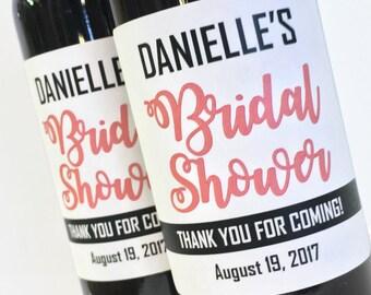 Thank you for Coming Mini Wine Labels for Bridal Shower Favor or Bachelorette Favor, Custom Wedding Mini Wine or Champagne Labels