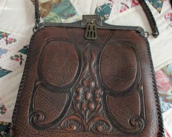 Antique Hand Tooled Leather Purse
