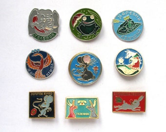Tale and Cartoon characters, Children's badges, Pick from Set, Animal, Vintage collectible badge, Soviet Pin, Soviet Union, Made in USSR