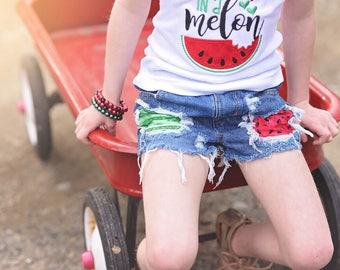 Rise & Rind Shorts- watermelon- summer-shorts- distressed denim- baby-kids