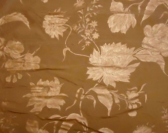 "Brass Gold with Metallic Florals - Silk Dupioni Fabric Yard - 54"" x 36"""
