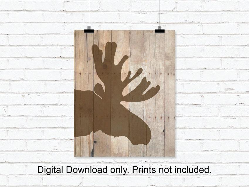 Instant Stencils For Walls : Moose silhouette stencil head wooden