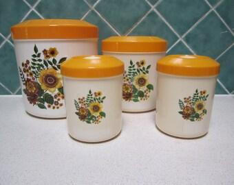Vintage Yellow Floral  Canister Set- Tarragon - British Plastics - 1970's