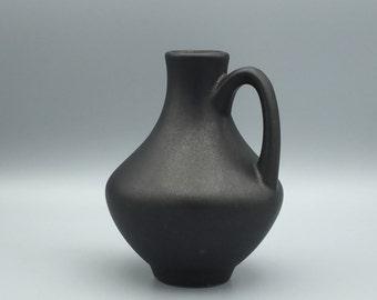 Van Daalen 129 vase, Fritz van Daalen mat black handled  Studio Ceramic Vase. 1960s / 1970s  WGP.