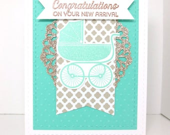 Handmade Baby Congratulations Card: Stampin Up, Welcome Baby, Neutral Baby Card, Baby Shower