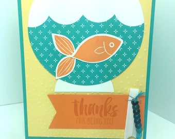 Stampin Up Thank You Card: Handmade Thanks, Fish Bowl,  Blank Inside