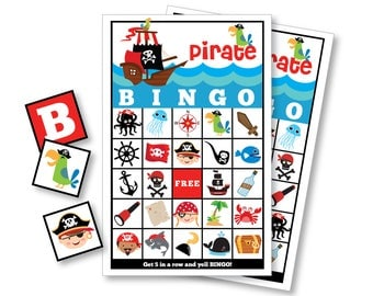 Pirate BINGO Game - Kid's Printable Bingo Game - Bingo Game for Kids - Pirate Party Game - Boys Pirate Bingo - Instant Download