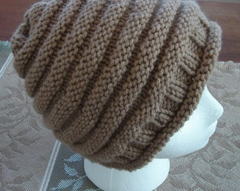 "Knit Hat, Taupe Beige/Tan, Women or Teens,  20"" Around before stretch"