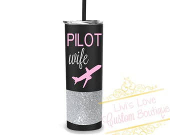 Pilot Wife Stainless Steel Luxury Straw Tumbler Glitter Dipped To Go Cup 20 oz Travel Mug To-Go Cup Coffee Tumbler Flight Wife Gift