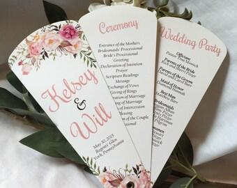Wedding Program Fans, Petal Fan Programs, Fan Programs - Bohemian Chic Floral