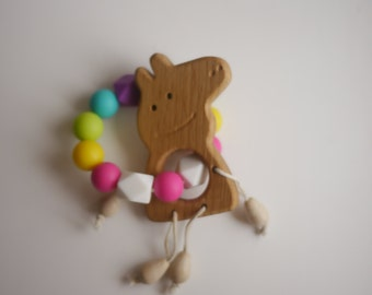 Silicone teether. Wooden teether.