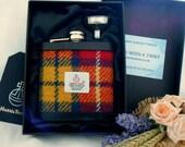 Buchanan Tartan Harris Tweed hip flask mens gift made in scotland  retirement gift for best man usher groomsman birthday christmas UK
