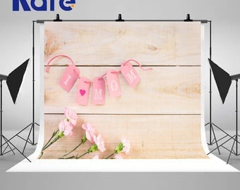Retro Wood Wall Photography Backdrops Pink Flowers and Card Photo Backgrounds for Mother's Day Studio Props