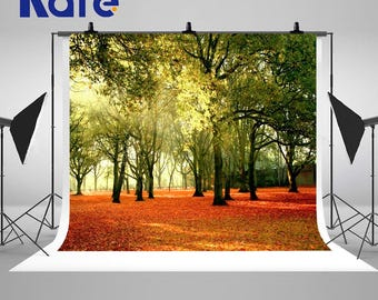 Amazing Forest Sunlight Trees Photography Backdrops Fallen Leaves Photo Backgrounds for Autumn Nature Landscape Studio Props