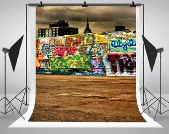 Graffiti Photography Backdrops Dark Wooden Walls Photo Backgrounds for Children Studio ZJ-S-1893