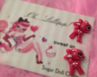 Oh lollipop pink deer fawn bambi  sweet doll earrings