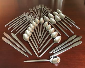 MidCentury Modern Astro Stainless Flatware by Stanley Roberts. Service for 6 plus extras, Modernist design, Made in Japan