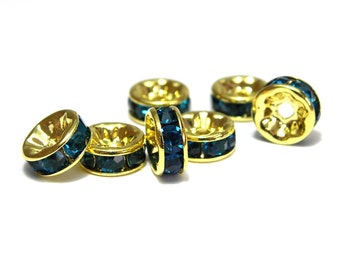 8x Gold plated Round A-Grade Rhinestone Spacers, Strass Rondelles 8 mm - Teal