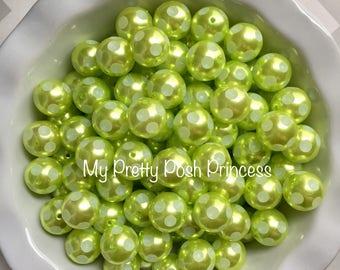 20mm Lime Green Pearl Polka Dot Chunky Bubblegum Beads Set of 10