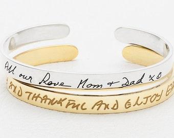 20% off Handwritten Bracelet / Handwritten jewelry / Custom handwriting jewelry in sterling silver / Handwritten cuff bangle - JB02