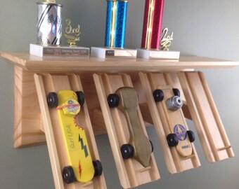 Derby Car Display, Wall Shelf, Pinewood, CubScout Derby Shelf, Four Car Trophy Shelf, Clear Finish