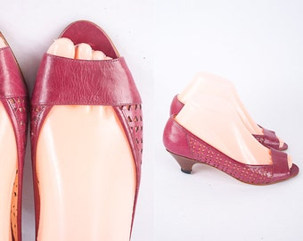 80s Peep Toe Heels, 80s Shoes, 80s Heels, 80s Pumps, Retro High Heel Shoes, Maroon Leather Pumps, Cut Out Leather Shoes, Open Toe Shoes