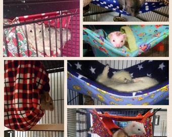 Custom made to order large deluxe hammock set (rat, ferret, degu, chinchilla)