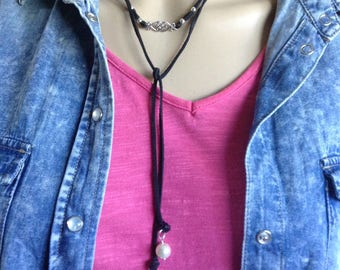 Sterling and Leather Wrap Necklace