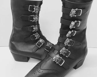 Original Pikes-6 Skull Buckle Boots with Cuban Heel and Brogue Detail