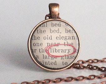 Librarian Necklace - Librarian Gift - Library - Reader - Librarian Jewelry - Bookish Jewelry - Librarian - Charm - Necklace -  (B0559)