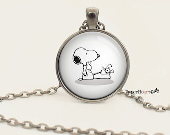 Snoopy - Typewriter - Necklace - Writer Necklace - Jewelry for Writer - Author Jewelry - Storyteller -  (B1996)